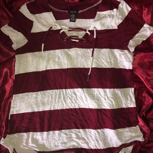 NWOT Rue 21 Striped Lace Up Top